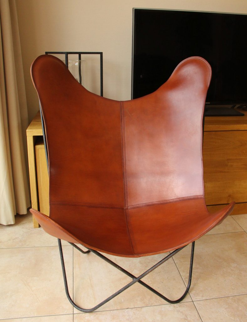 Vlinderstoel tuigleer bekleden leer