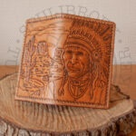 bikerwallet portemonee beurs indiaan carving tooling tuigleer